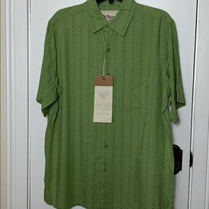 NWT Vintage Silk green short sleeved shirt size Lg